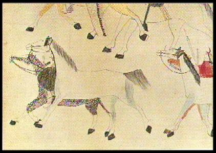 curly horse in Battle of the Little Bighorn, ledger drawing by Red Horse; taken from Time Life Western Book Series